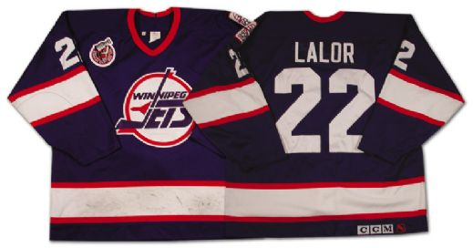 best service 55972 2dedc Lot Detail - Mike Lalor's 1992-93 Winnipeg Jets Game Worn Jersey