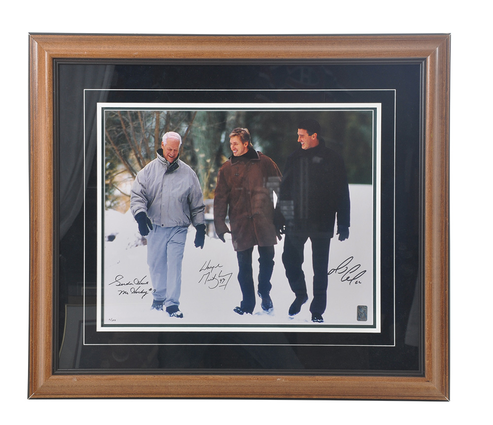 Lot Detail Gordie Howe Wayne Gretzky And Mario Lemieux