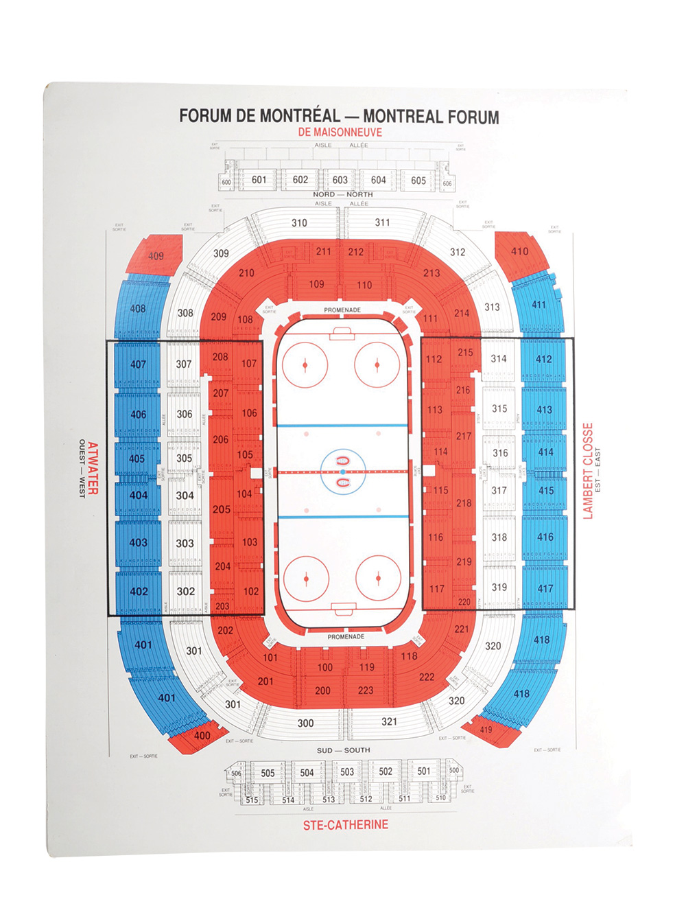 lot detail seating chart from the montreal forum 33 x 43. Black Bedroom Furniture Sets. Home Design Ideas