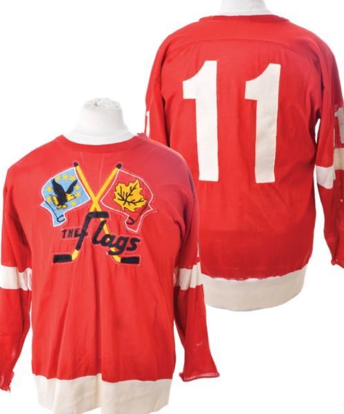 Late-1960s IHL Port Huron Flags Game-Worn Jersey - Team Repairs!
