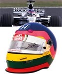 Jacques Villeneuves 2001 Lucky Strike BAR Honda F1 Team Bell Race-Worn Helmet with His Signed LOA – Japanese Grand Prix