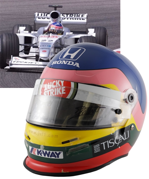 Jacques Villeneuve's 2000 Lucky Strike BAR Honda F1 Team Bell Race-Worn Helmet (Also Used as a 2001 Test Helmet) with His Signed LOA