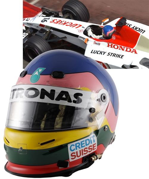 Jacques Villeneuve's 2003 Lucky Strike BAR Honda F1 Team Bell Race-Worn Helmet (Also Used as a 2005 Test Helmet) with His Signed LOA