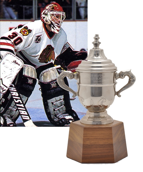 "Ed Belfours 1991-92 Chicago Black Hawks Clarence Campbell Bowl Championship Trophy (11"")"