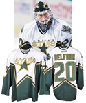 Ed Belfours 2001-02 Dallas Stars Game-Worn Jersey - Great Game Wear! - Photo-Matched!