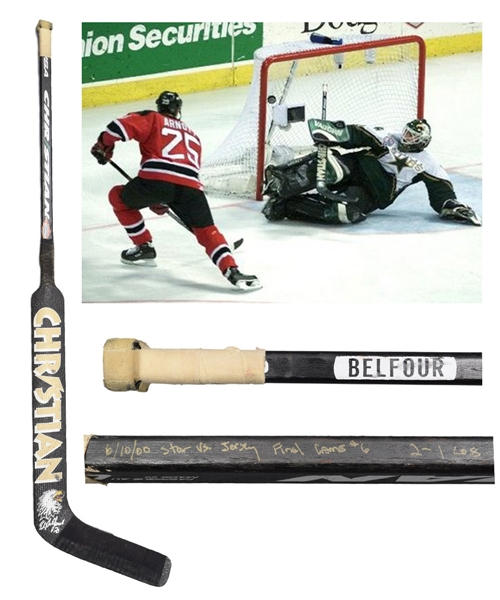 Ed Belfours June 10th 2000 Dallas Stars Game-Used Christian Playoffs Stick from Stanley Cup Finals Game #6