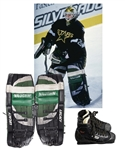 Ed Belfours 1997-98 Playoffs and 1998-99 Dallas Stars Photo-Matched Vaughn Game-Worn Pads Plus Bauer Game-Used Skates