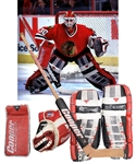 Ed Belfours 1996-97 Chicago Black Hawks Game-Worn Photo-Matched Cooper Goalie Pads and Blocker Plus Game-Used Glove, Skates and Stick