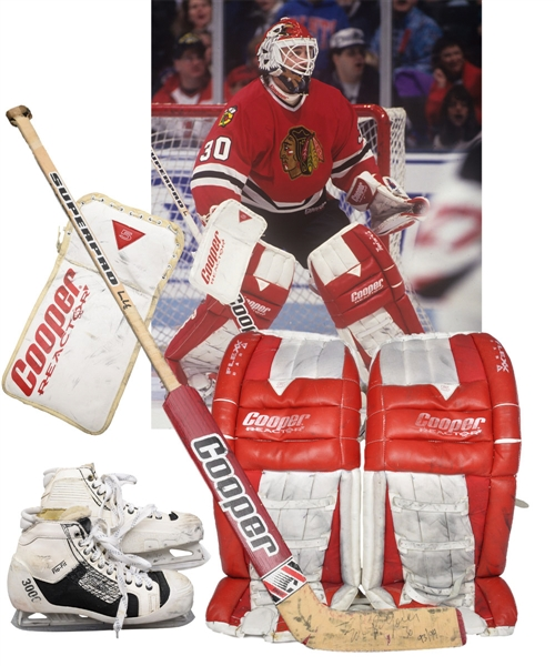 Ed Belfours 1993-94 Chicago Black Hawks Game-Worn Photo-Matched Cooper Goalie Pads Plus Game-Worn Pants, Blocker, Skates and Cooper Stick