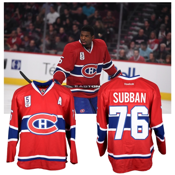 "P.K. Subbans 2014-15 Montreal Canadiens ""Guy Lapointe Night"" Game-Worn Alternate Captains Jersey with Team LOA"