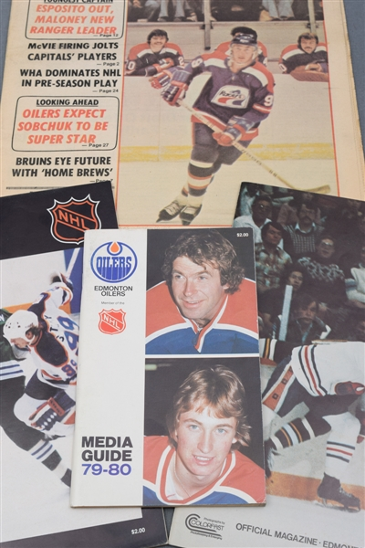 Wayne Gretzky First WHA & NHL Seasons Collection of 4, Including 1978 Hockey News & 1979-80 Edmonton Oilers Media Guide