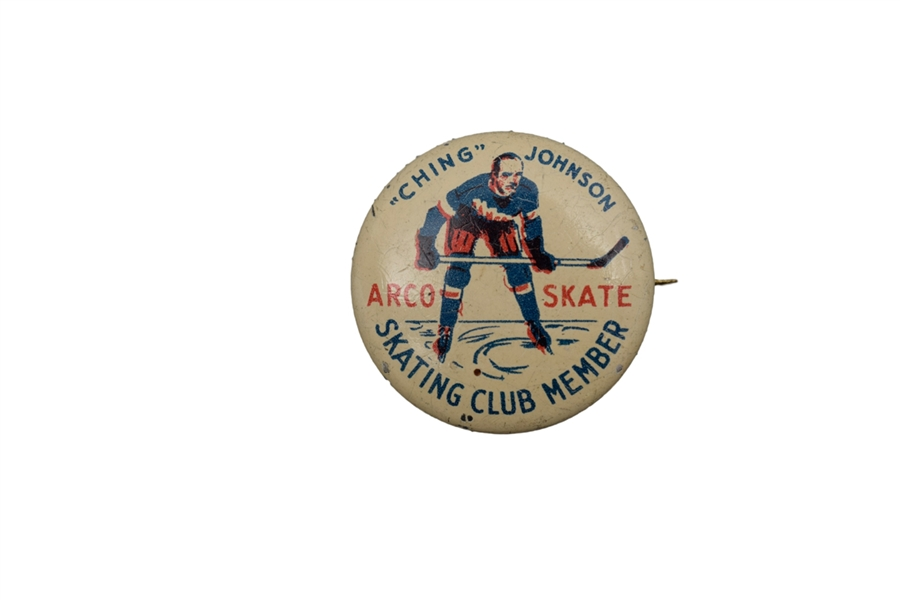 1930s Ching Johnson NY Rangers Arco Skate Advertising Pin
