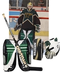 Ed Belfours 2001-02 Dallas Stars Photo-Matched Bauer Goalie Pads, Blocker and Glove Plus Game-Used Skates and Stick - His Last Stars Pads, Glove and Blocker!
