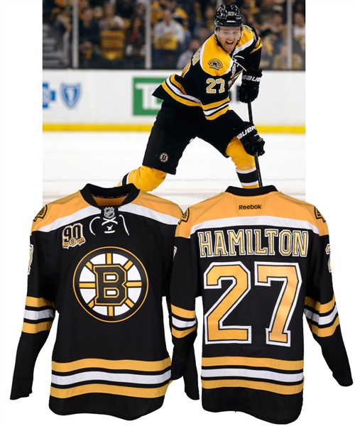 Dougie Hamiltons 2013-14 Boston Bruins Game-Worn Playoffs Jersey with Team LOA - 90th Patch!