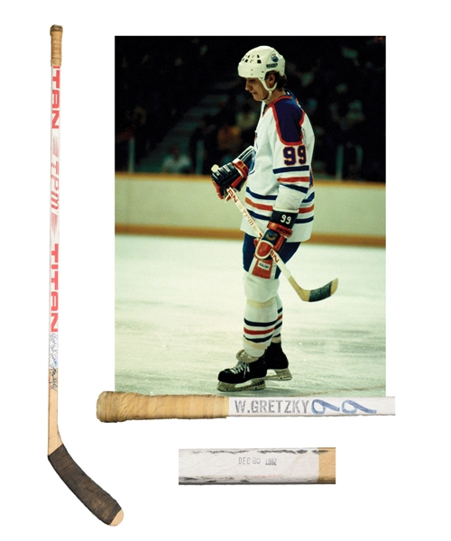 Wayne Gretzkys 1982-83 Edmonton Oilers Signed Titan TPM Game-Used Stick with LOA - From Shawn Chaulk Collection