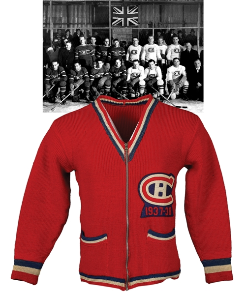 Superb 1937-38 Montreal Canadiens Wool Cardigan with Felt Team Patch Attributed to Coach Cecil Hart