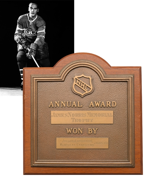 Jacques Laperrieres Original 1965-66 James Norris Memorial Trophy Plaque with His Signed LOA