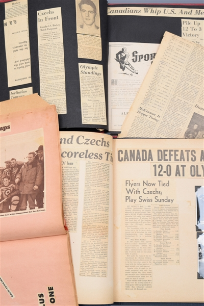 "Julius ""Pete"" Leichnitzs 1948 RCAF Flyers Olympic Hockey Champions Scrapbook Collection of 3 with LOA"