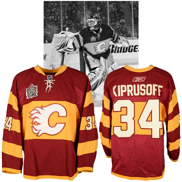 Miikka Kiprusoffs 2011 NHL Heritage Classic Calgary Flames Warm-Up Worn Jersey with NHLPA LOA