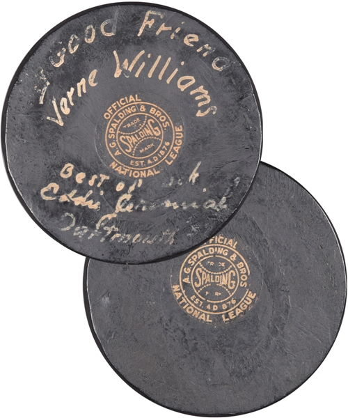 Vintage 1931-42 Spalding Official NHL Puck Signed by US Hockey Hall of Famer Eddie Jeremiah