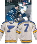 "Gordon ""Red"" Berensons 1967-68 St. Louis Blues Inaugural Season Game-Worn Away Jersey with His Signed LOA"