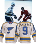 "Gordon ""Red"" Berensons 1977-78 St. Louis Blues Game-Worn Captains Home Jersey with His Signed LOA - Team Repairs!"