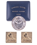 "Gordon ""Red"" Berensons 1972 Canada-Russia Series Players Silver Coin in Case and 1972 Team Canada Cufflinks with His Signed LOA"