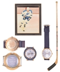 "Gordon ""Red"" Berensons St. Louis Blues Collection Including 1967-68 Game-Used Team-Signed Inaugural Season Playoffs Stick, 1967-68 MVP West Division and ""6 Goal Game"" Watches with His Signed LOA"