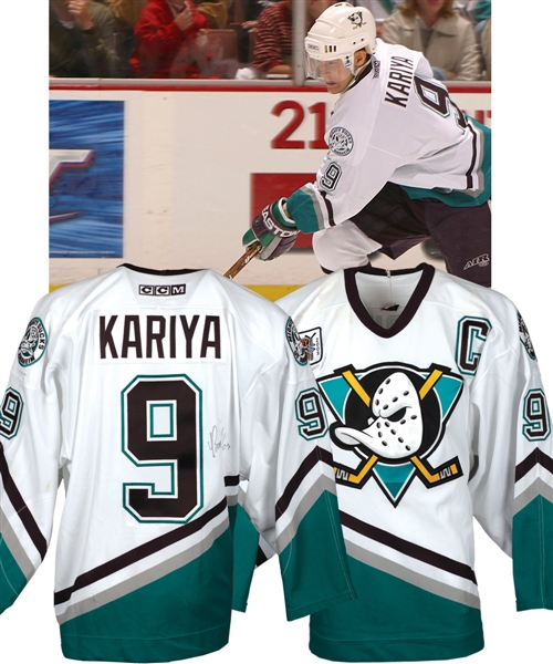 "Paul Kariyas 2002-03 Anaheim Mighty Ducks Signed ""Hockey Fights Cancer"" Game-Worn Captains Jersey with LOA"
