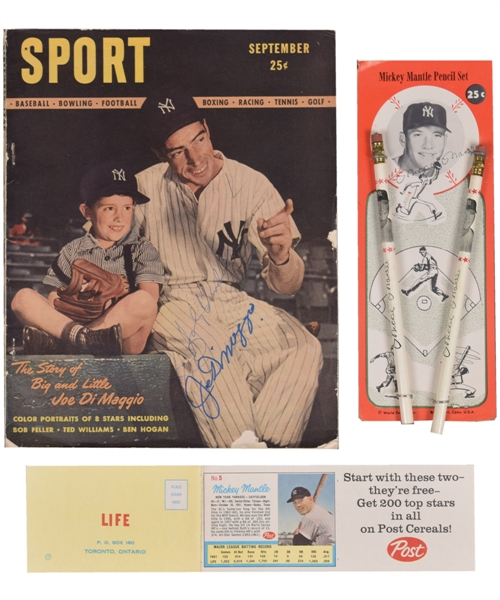 New York Yankees Collection Featuring 1946 Sport Magazine First Issue Signed by DiMaggio and 1962 Post Cereal Mickey Mantle/Roger Maris Card