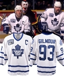 Doug Gilmours 1996-97 Toronto Maple Leafs Game-Worn Captains Jersey with His Signed LOA - MLG 65th Patch! - Photo-Matched! - His Last Maple Leafs Home Jersey!