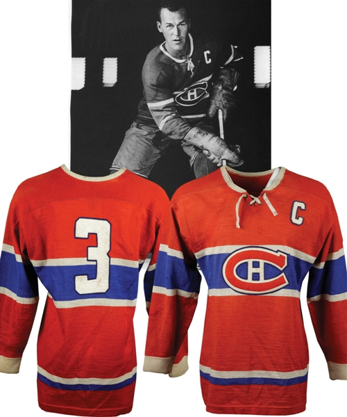 "Emile ""Butch"" Bouchards 1955-56 Montreal Canadiens Game-Worn Captains Jersey from His Personal Collection with LOA - Team Repairs! - Photo-Matched!"