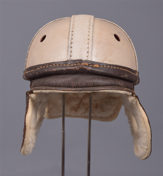 Vintage 1920s/1930s Ken-Wel #752 Football Helmet with White Shell and Leather Dog Ear Flaps