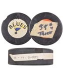 "Brett Hulls 1989-90 St. Louis Blues ""55th Goal of Season - 5th NHL Hat Trick"" Goal Puck with His Signed LOA"