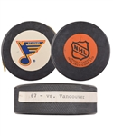 "Brett Hulls 1989-90 St. Louis Blues ""67th Goal of Season"" Goal Puck with His Signed LOA"