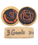 "Brett Hulls 1995-96 St. Louis Blues ""24th Hat Trick"" Goal Puck with His Signed LOA"