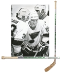 "Brett Hulls 1989-90 St. Louis Blues ""71st and 72nd Goals of the Season"" Easton Aluminum Milestone Game-Used Stick with His Signed LOA"