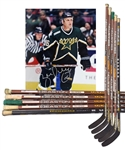 Brett Hulls Early-2000s Dallas Stars Easton and Louisville Game-Used Sticks (5) with His Signed LOA