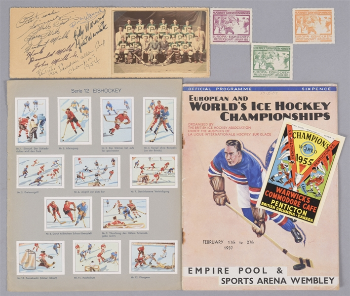 1910s/1970s World Hockey Championships Memorabilia Collection Including First Day Cover, Stamps, 1937 Program, Penticton Vs Items and Much More