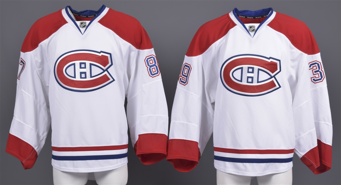Robin Gusses and Peter Delmas 2011-12 Montreal Canadiens Game-Issued Away Jerseys with Team LOAs
