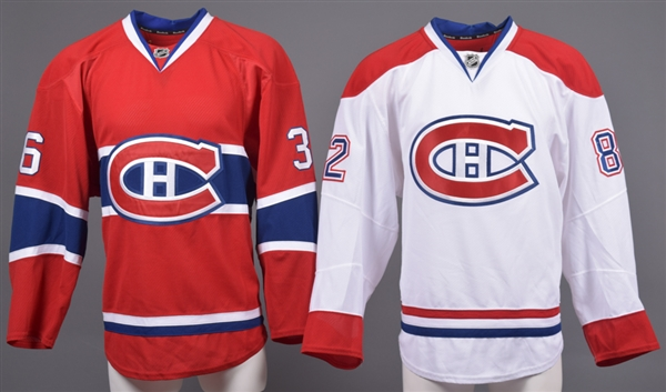 Magnus Nygren's and Patrick Holland's 2013-14 Montreal Canadiens Game-Worn Home (Preseason) and Away Jerseys with Team LOAs