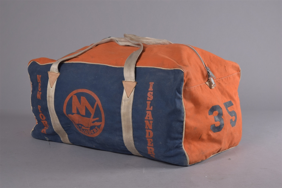 New York Islanders Mid-to-Late-1980s #35 Equipment Bag, Lou Franceschettis 1980s Washington Capitals Game-Used Gloves Plus Sabres Pants