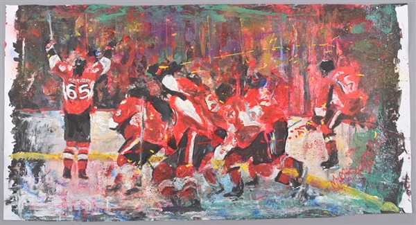 "Ottawa Senators ""Victory Celebrations"" Original Painting on Canvas by Renowned Artist Murray Henderson (22"" x 42"")"