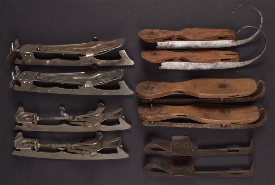 Antique 19th/Early-20th Century Ice Skate Collection of 5 Pairs