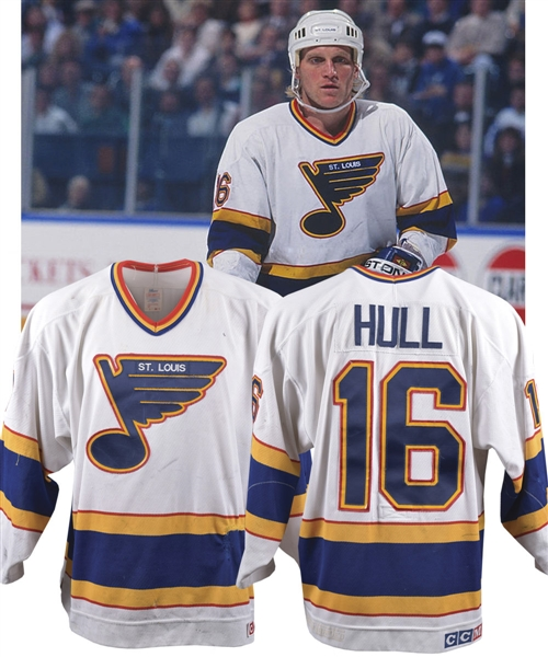 Brett Hulls 1990-91 St. Louis Blues Game-Worn Jersey with His Signed 787bfd957