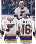 Brett Hulls 1990-91 St. Louis Blues Game-Worn Jersey with His Signed LOA - Team Repairs! - Photo-Matched! - Video-Matched to His 86th Goal of Season and Playoffs!