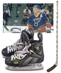 Brett Hulls Mid-to-Late-1990s St. Louis Blues Nike Game-Used Stick and Early-2000s Reebok Pump Game-Used Skates with His Signed LOA
