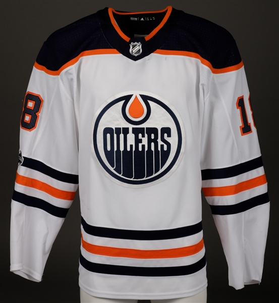 Ryan Stromes 2017-18 Edmonton Oilers Game-Worn Jersey with Team LOA - NHL Centennial Patch!