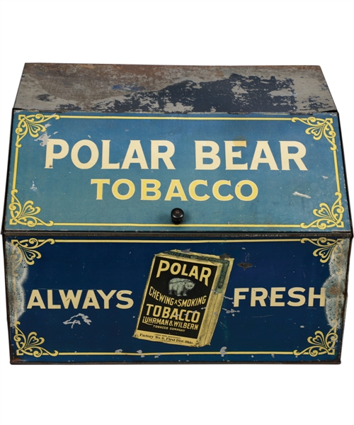Circa 1910 Polar Bear Tobacco Lithographed Tin Store Vending Display - Famous Advertiser on the 1909-11 T206 Baseball Cards!