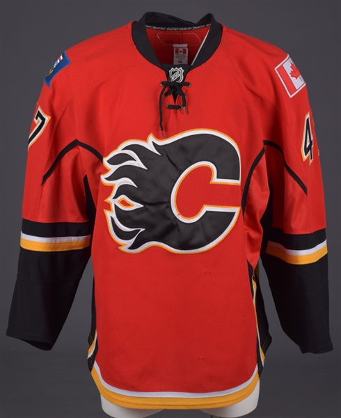 Sven Baertschis 2011-12 Calgary Flames Game-Worn Rookie Season Jersey with Team LOA - Photo-Matched!